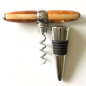 Bottle Stopper & Corkscrew - Amboyna & Blonde Maple