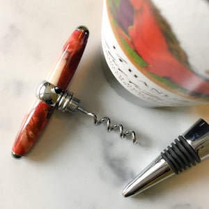 Bottle Stopper & Corkscrew - Pink Buckeye & Ghost Red