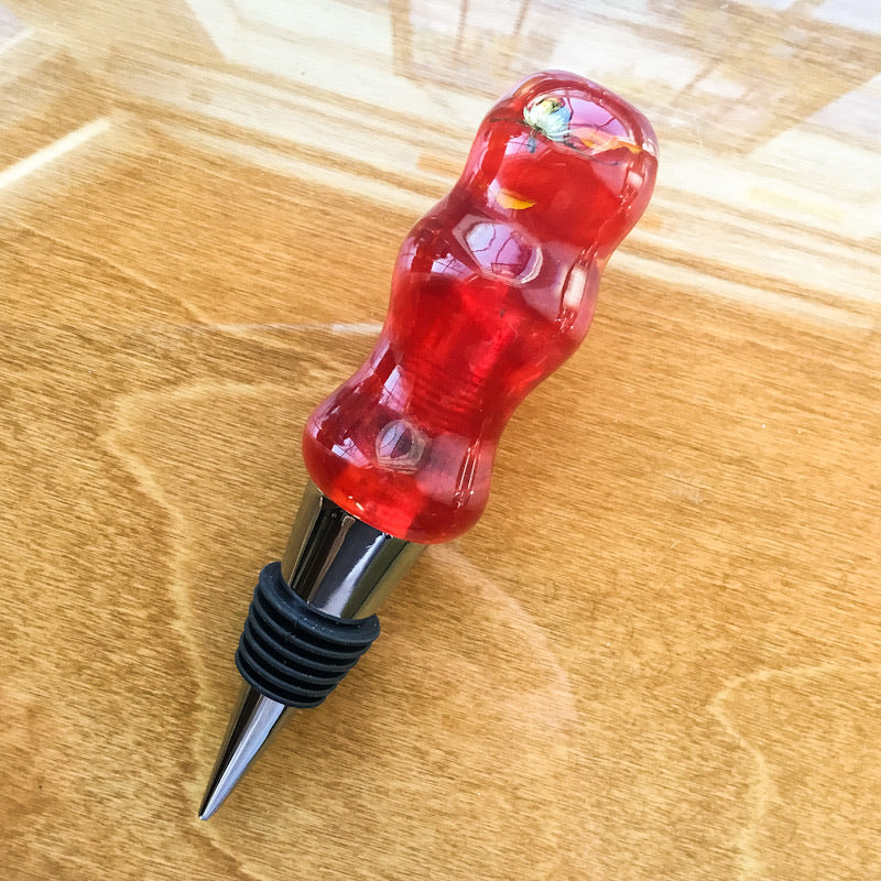 Bottle Stopper - Bright Red with Rose Petals