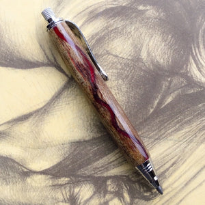 Pencil - Mini Sketch Chrome with Spalted Maple and Red