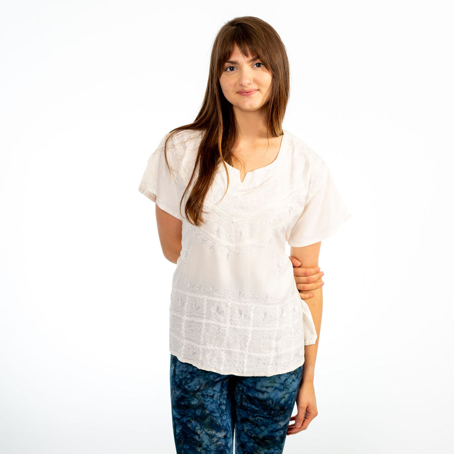 Cream Embroidered V-Neck Tie-Back Short Sleeve Top