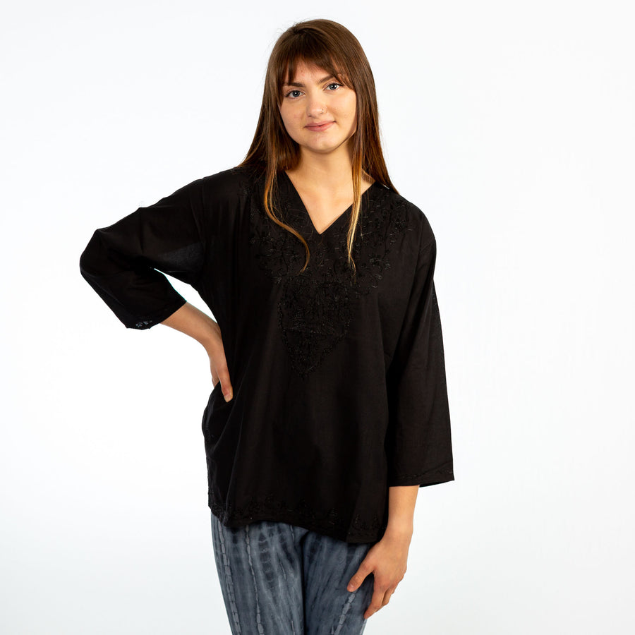 Black Boho Embroidered 3/4 Sleeve Blouse