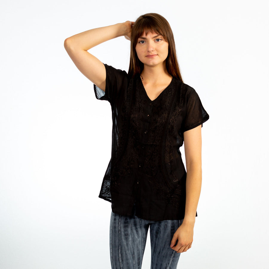 Black Embroidered V-Neck Button up Short Sleeve Top