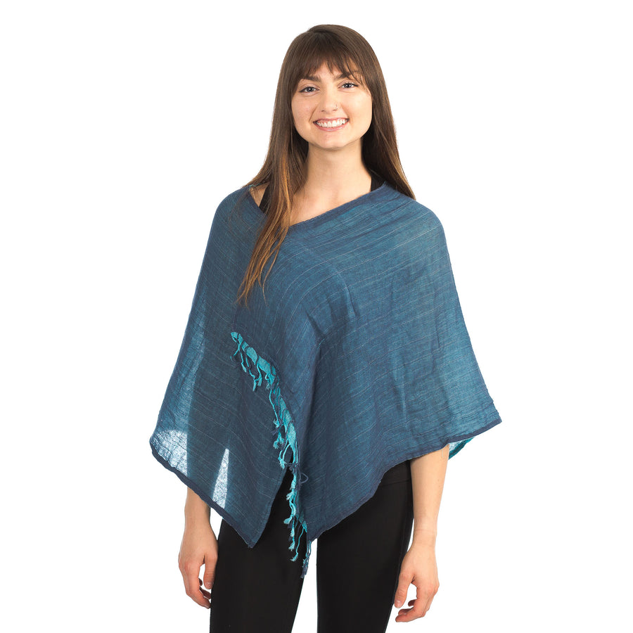 Cotton Poncho with Fringe
