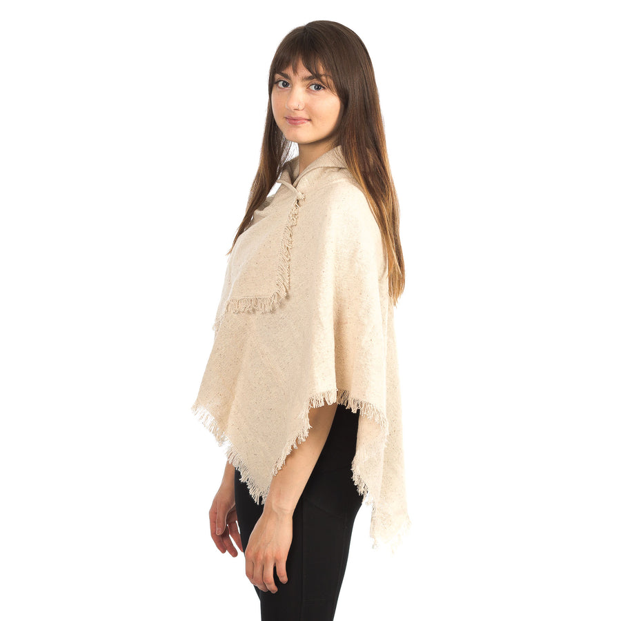 Tweed Cotton Poncho with Fringe