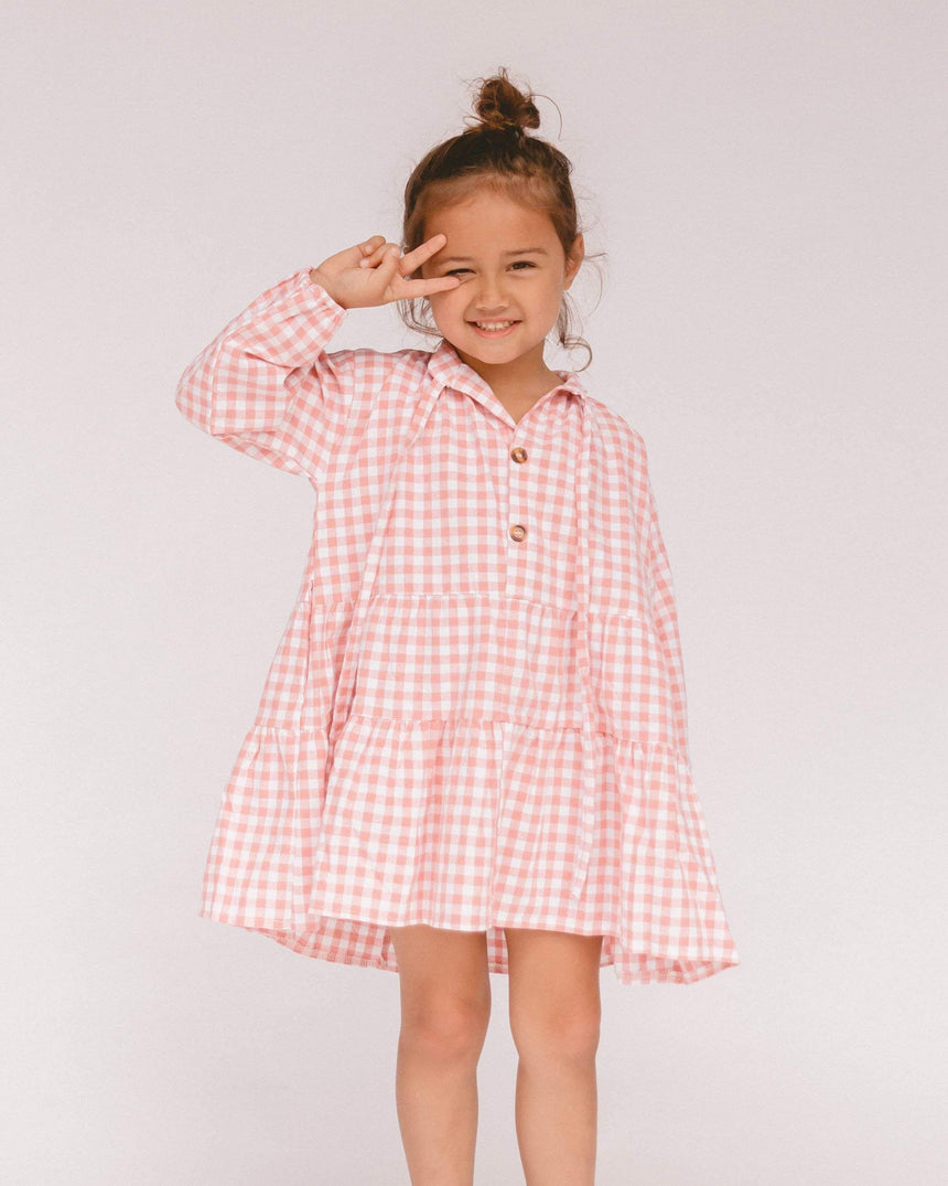 Mini Avalon Smock Dress // Caramel Gingham