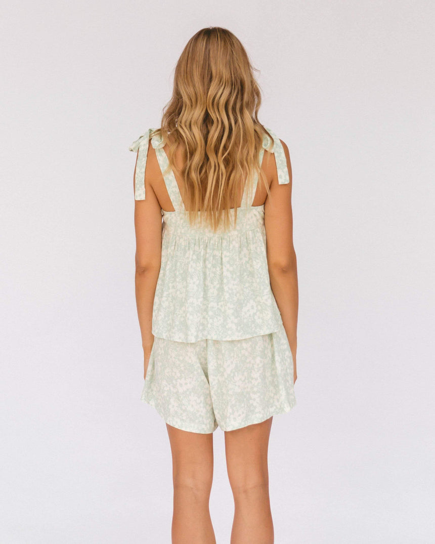 Teresa Shorts // Mint Daisies Bottoms The Lullaby Club