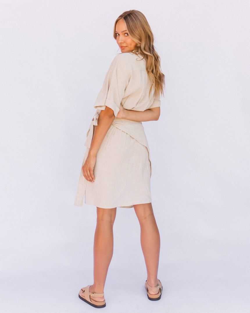 Natalie Wrap Dress // Oat - The Lullaby Club