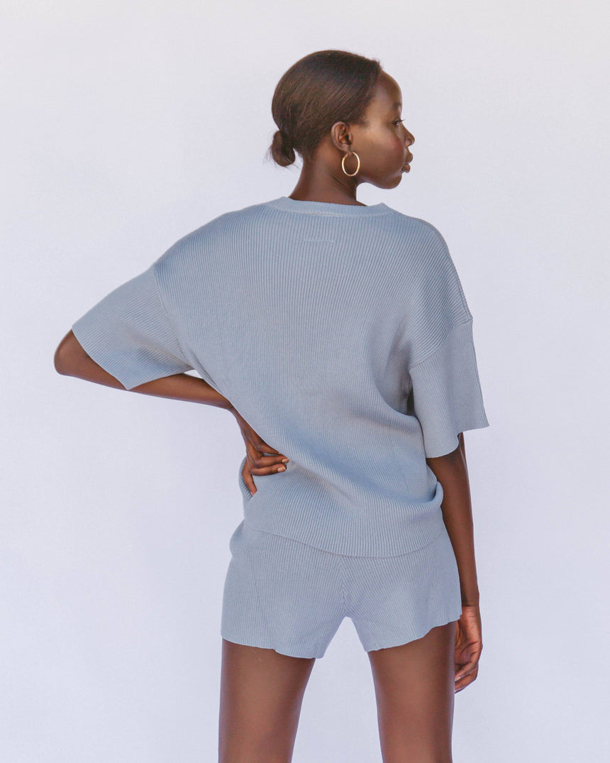 Alex Knit Shorts // Denim Blue - The Lullaby Club