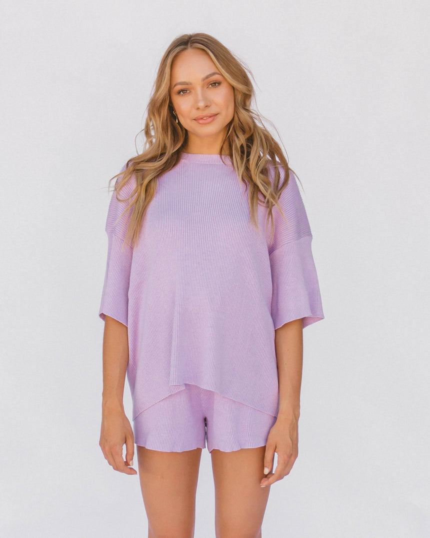 Alex Knit Shorts // Periwinkle