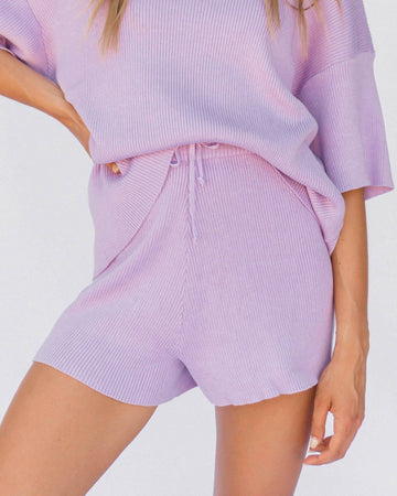 Ribbed Knit Shorts in Purple