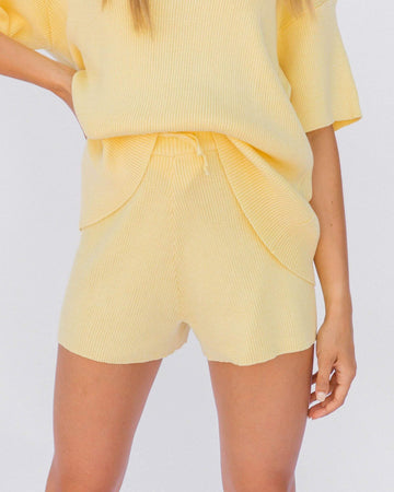 Ribbed Knit Shorts in Yellow