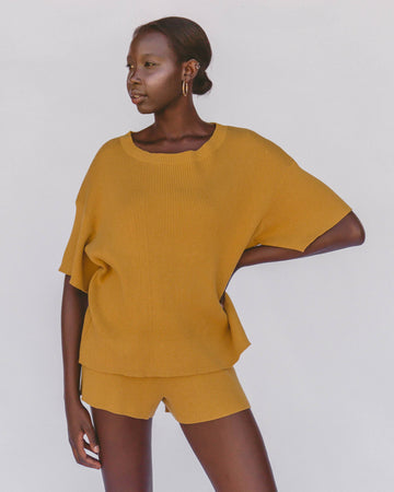 Alex Knit Tee // Mustard - The Lullaby Club