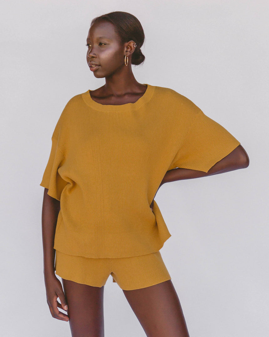 Alex Knit Tee // Mustard T-Shirt The Lullaby Club