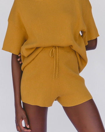 Ribbed Knit Shorts in Mustard