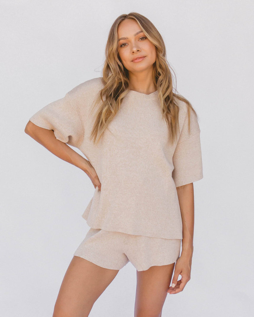 Alex Knit Tee // Sand T-Shirt The Lullaby Club