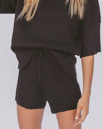 Ribbed Knit Shorts in Black