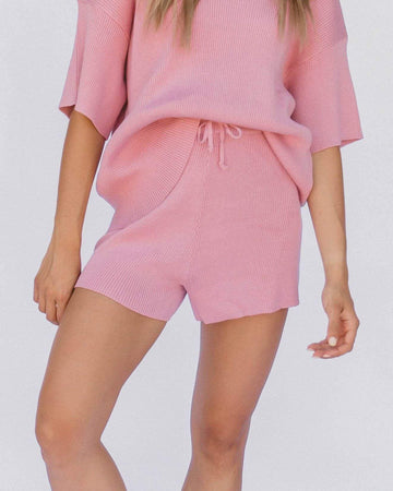 Ribbed Knit Shorts in Dusty Pink