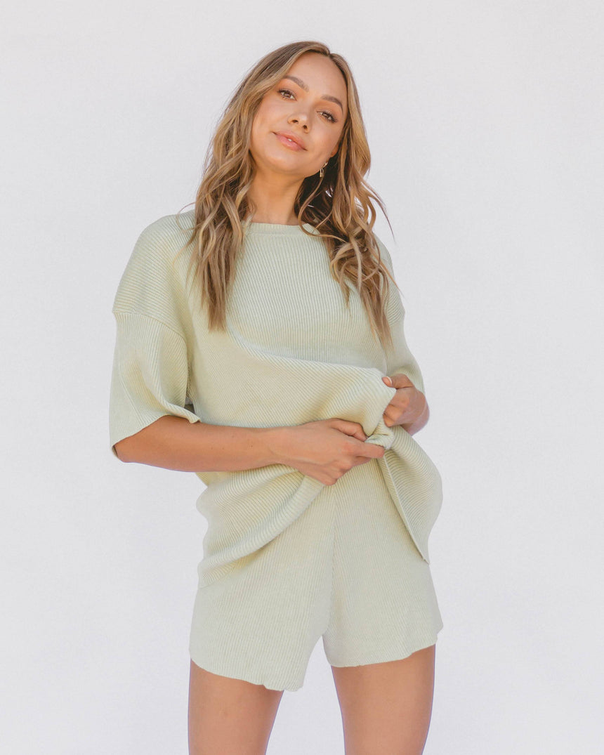 Alex Knit Tee // Pistachio - The Lullaby Club