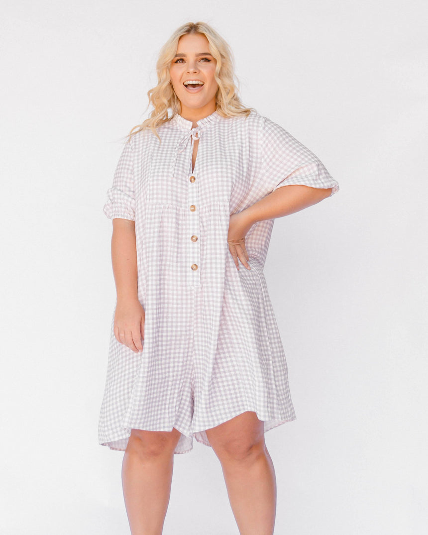 Cody Playsuit // Lilac Gingham - The Lullaby Club