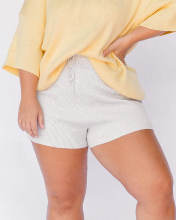Ribbed Knit Shorts in Blue Marle