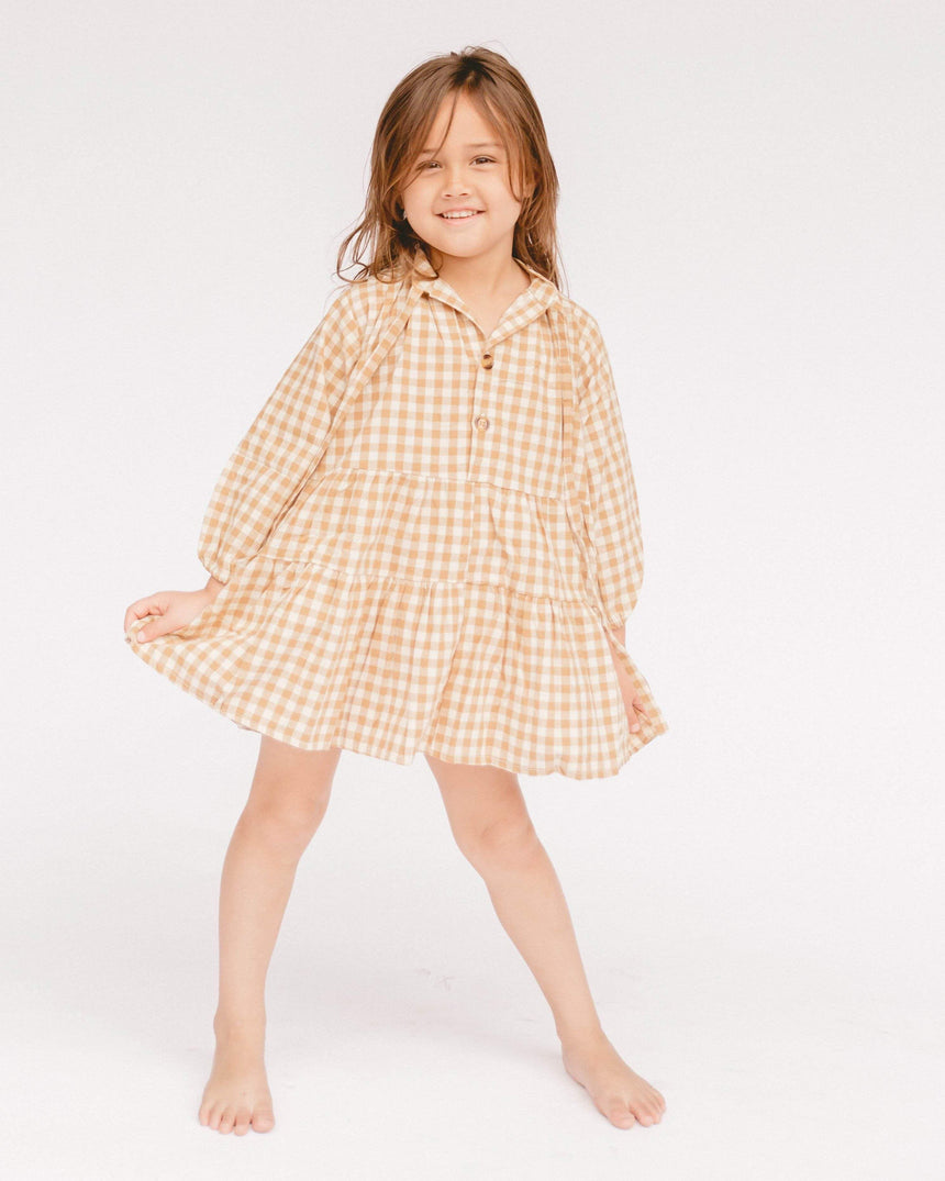 Mini Avalon Smock Dress // Caramel Gingham kids The Lullaby Club