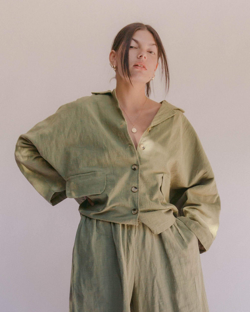 Women's Lounge Shirt // Olive Shirt The Lullaby Club