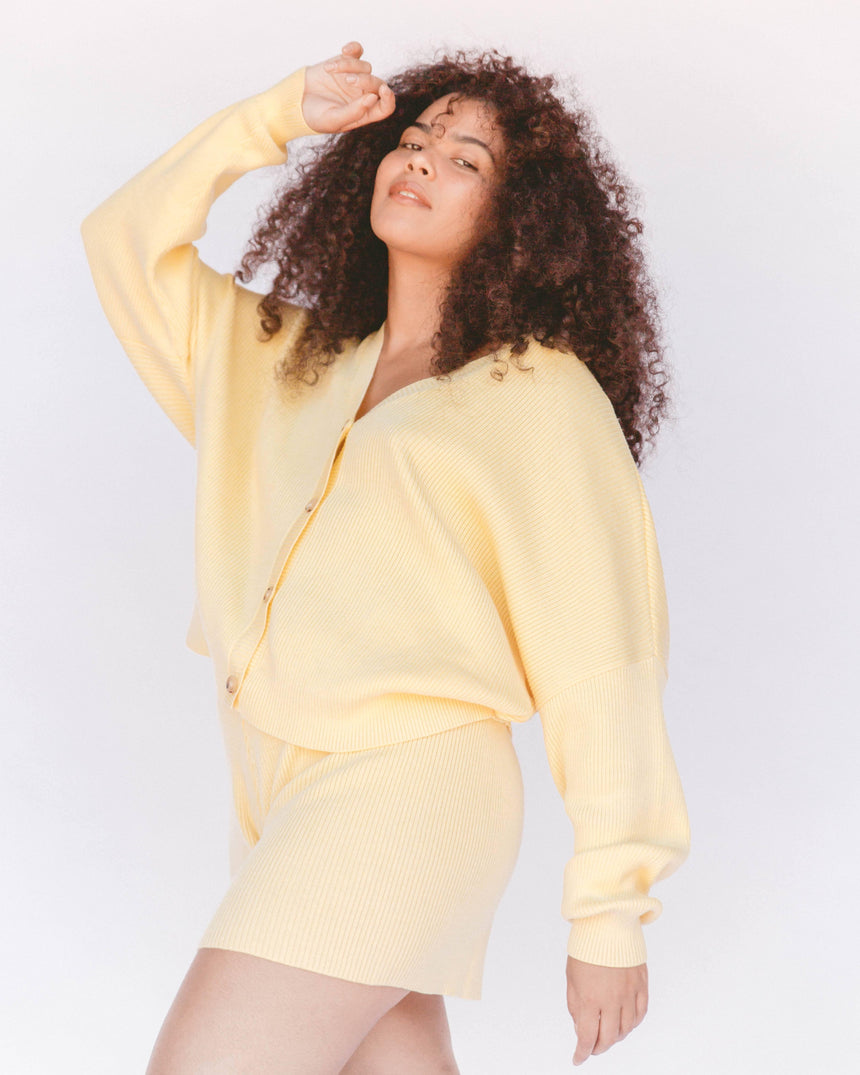 Women's Ribbed Knit Cardigan in Yellow