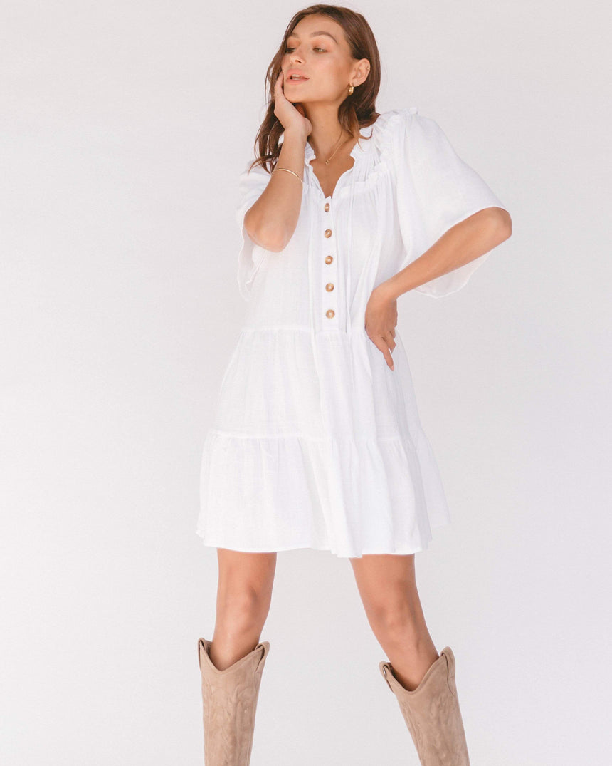 Nikita Tiered Dress // White