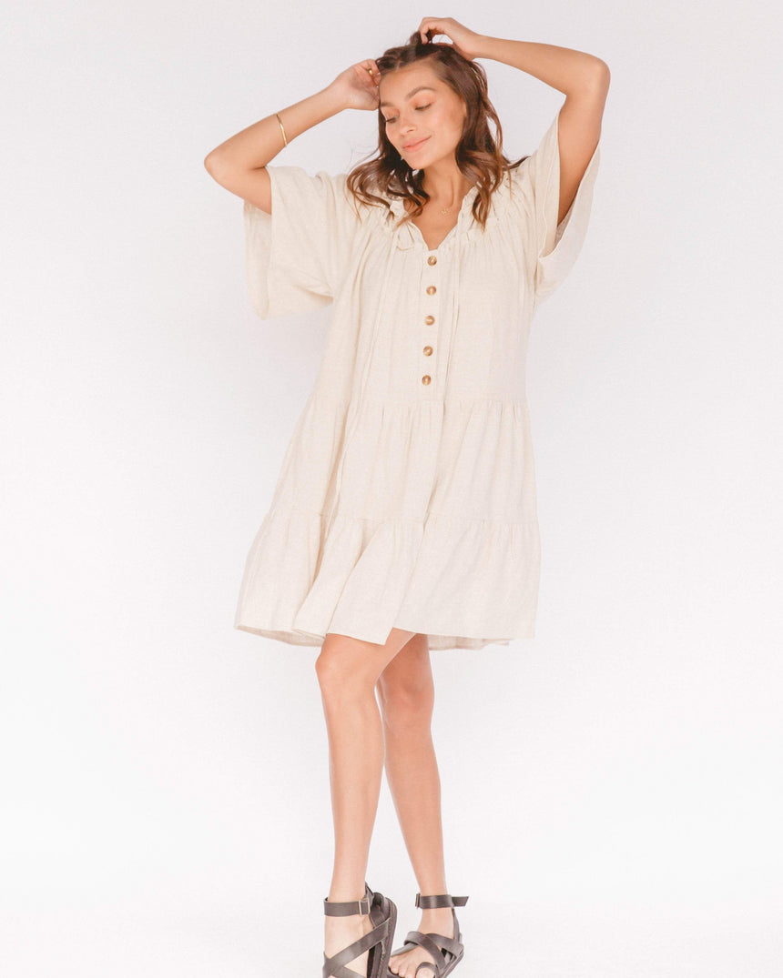 Nikita Tiered Dress // Oat Dress The Lullaby Club