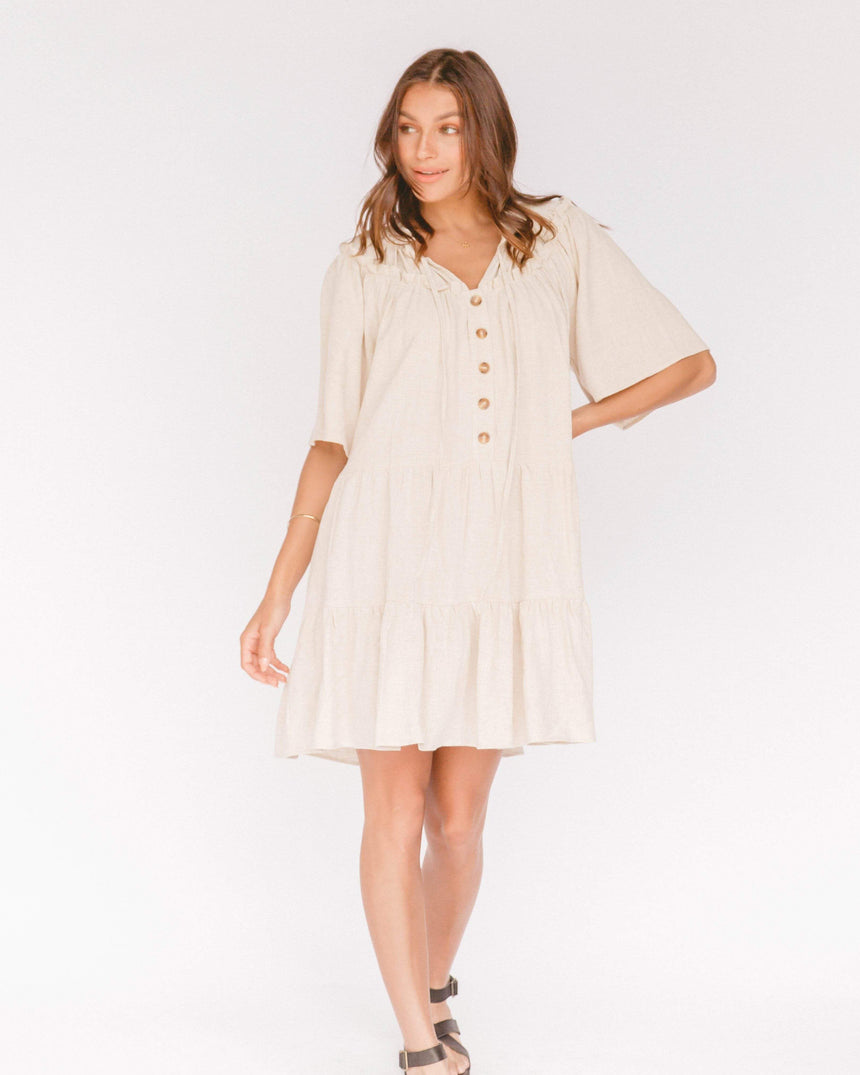 Nikita Tiered Dress // Oat