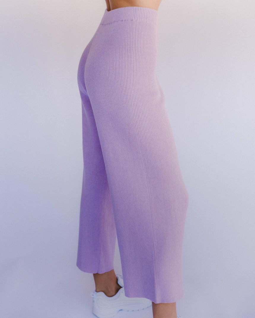 Womens Ribbed Knit Pants in Purple