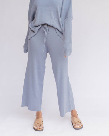 Womens Ribbed Knit Pants in Denim Blue