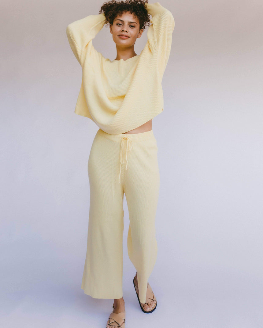 Womens Ribbed Knit Pants in Yellow