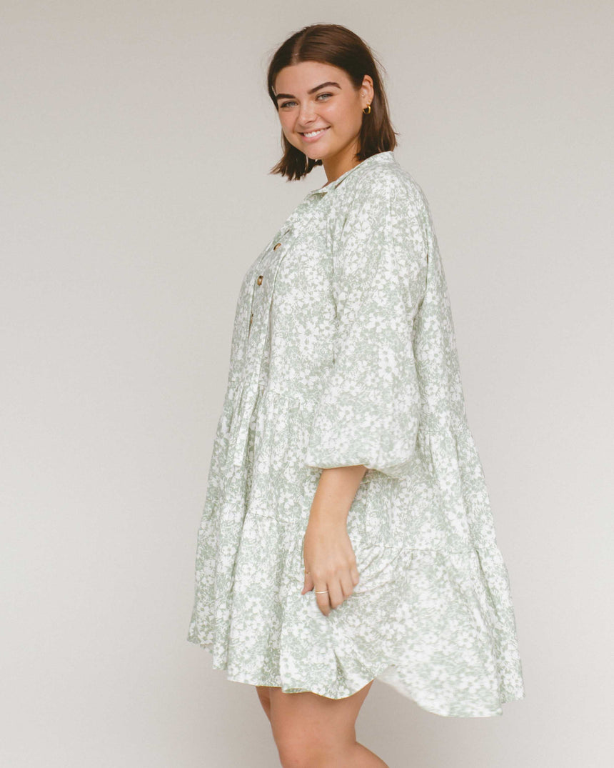 Avalon Smock Dress // Mint Daisies - The Lullaby Club