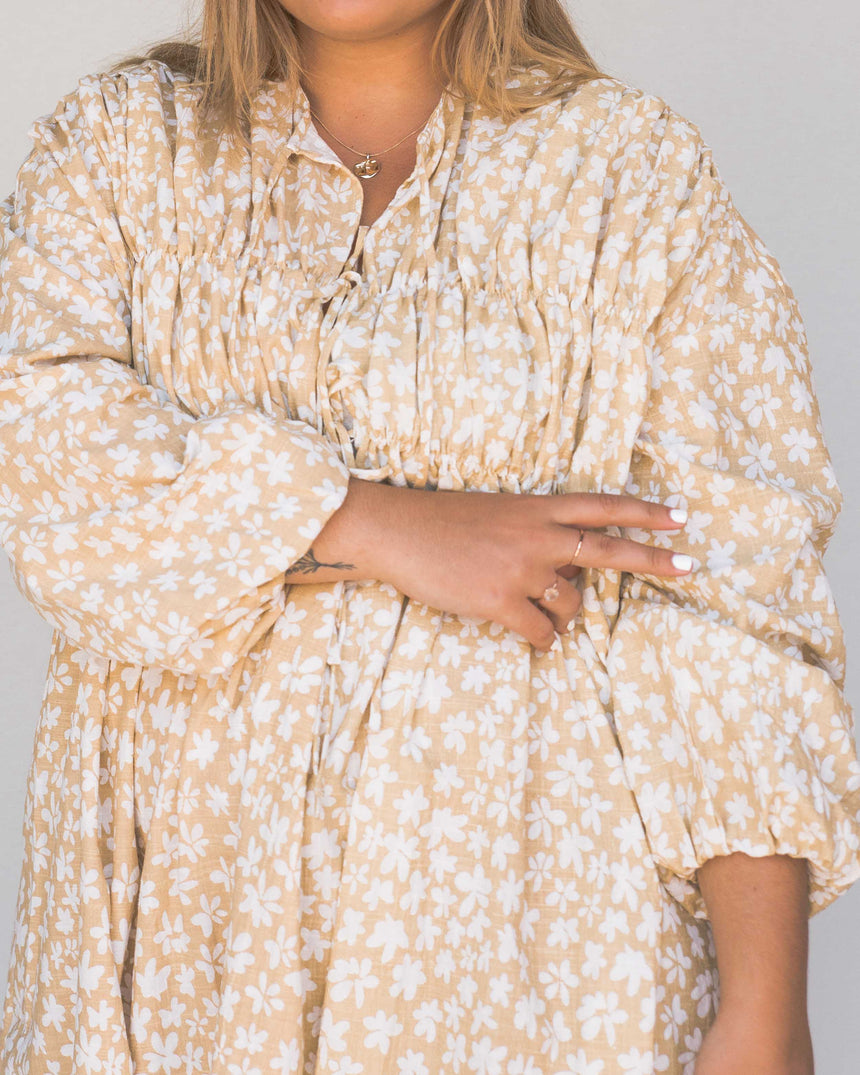 oversized Smock Midi Dress long sleeve