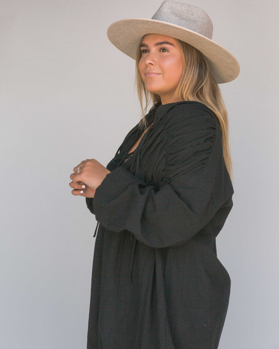 black Midi Smock Dress with long sleeves