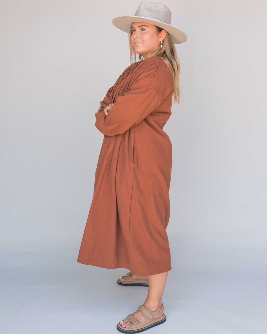 Rust Midi Smock Dress with long sleeves