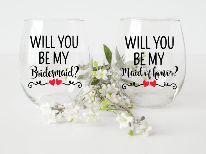 a497b0d2eb5 Bridesmaid proposals will you be my bridesmaid diy decals wine glass ...