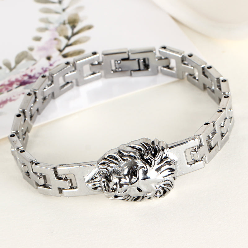 Men's Bracelet Stainless Steel - Lion Design Silver Plated Bracelet Chain
