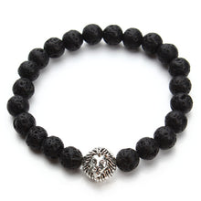 Load image into Gallery viewer, Black Lava Stone Beads Bracelet Antique Gold Lion head Bracelet