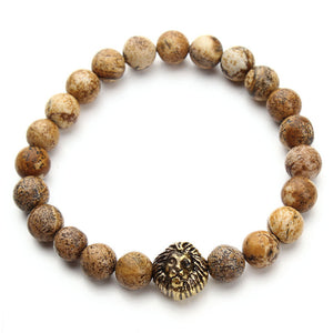 Black Lava Stone Beads Bracelet Antique Gold Lion head Bracelet