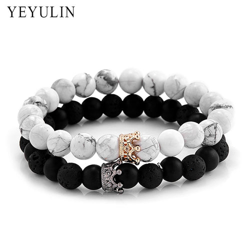 2 in 1 White and Black Crown Bracelet