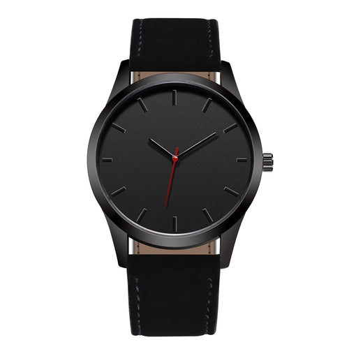 Mens Fashion Large Leather Quartz Watch