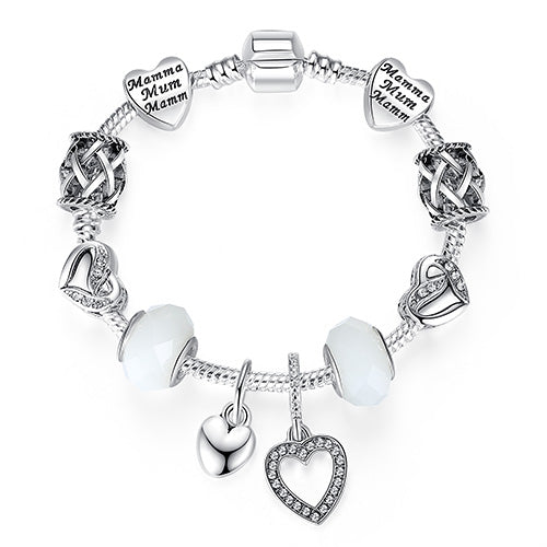 Womens Bracelet Silver Crystal Charm