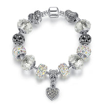 Load image into Gallery viewer, Womens Bracelet Silver Crystal Charm