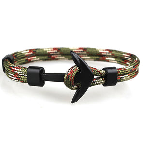 Black Anchor Bracelets Men Charm Survival Rope