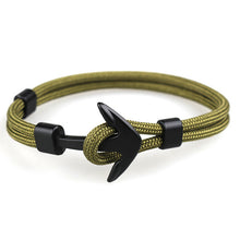 Load image into Gallery viewer, Black Anchor Bracelets Men Charm Survival Rope
