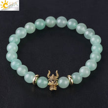 Load image into Gallery viewer, Green Aventurine Natural Stone Buddha Lion Wrist Bracelets Chakra Energy Jewelry for Men