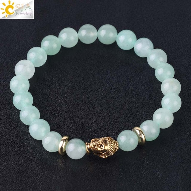 Green Aventurine Natural Stone Buddha Lion Wrist Bracelets Chakra Energy Jewelry for Men